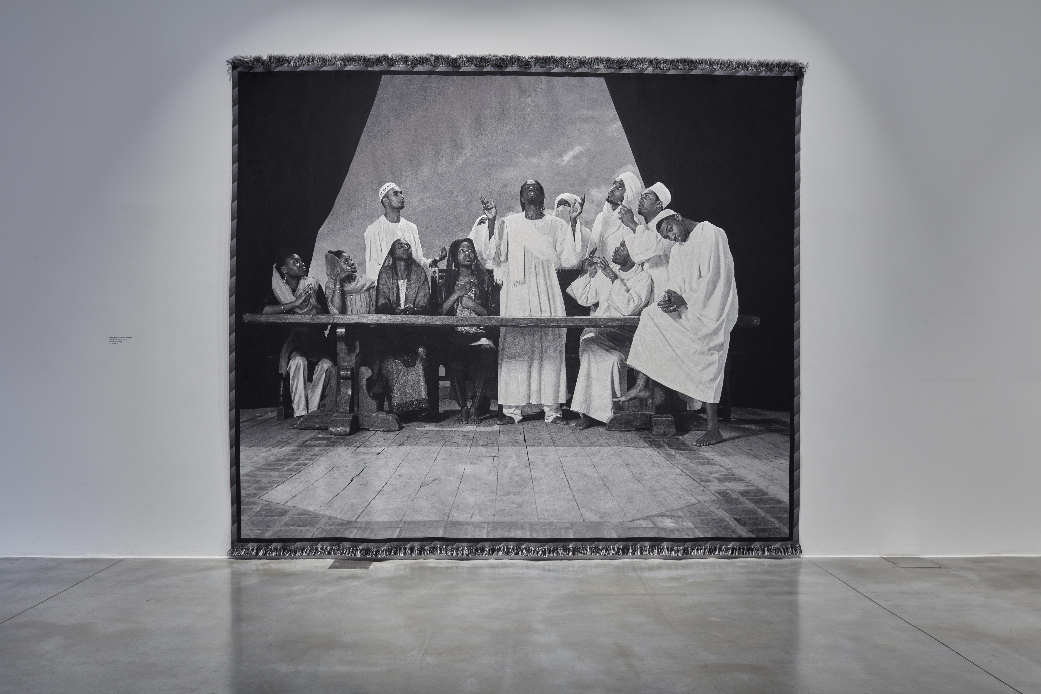 Faisal Abdu'Allah & Kofi Allen, The Last Supper I, 2012 . Jacquard tapestry, 117 x 148 in.