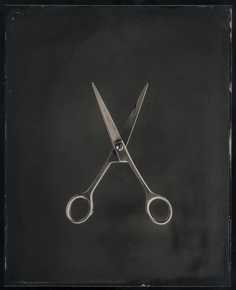 Scissor, 2020. Tintype, 8 x 10 in.